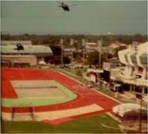A helicopter above the LSU athletic facilities. The Pete Maravich Assembly Center is to the right.