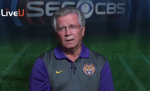 The Voice of the Tigers Jim Hawthorne talks to CBS, also before the Auburn game this year.
